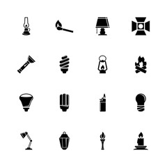 Light Source icons - Expand to any size - Change to any colour. Flat Vector Icons - Black Illustration on White Background.