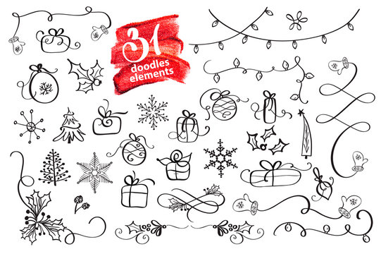 hand drawn Christmas elements doodles. Season greeting decor For your greeting card. Vector illustration