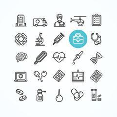 Medicine Symbols and Signs Black Thin Line Icon Set. Vector