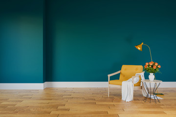 Modern loft  interior of living room with yellow  armchairs on wood flooring and dark green wall .empty room ,3d rendering