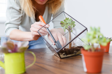 Image of florist showing master class on making florarium in glass jar