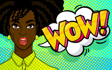African american woman face in pop art style.