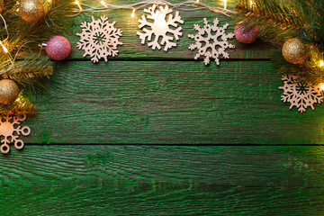 Photo of New Year's wooden green background