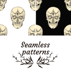 Skull and painting. Beautiful tattoos in Indian style. Seamless patterns