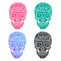 Skull and beautiful pattern. Small leaves and branches. Mexican style.