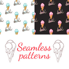 Set. Seamless patterns. Skeletal hand and ice cream. The ice cream melts.