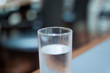 Glass of water with soft focus filter.