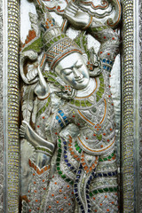 door of buddhist temple,hammered, chased