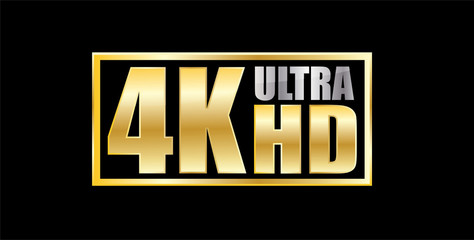 4k Ultra Hd gold and silver sticker