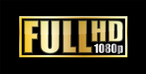 Full Hd 1080p gold sticker