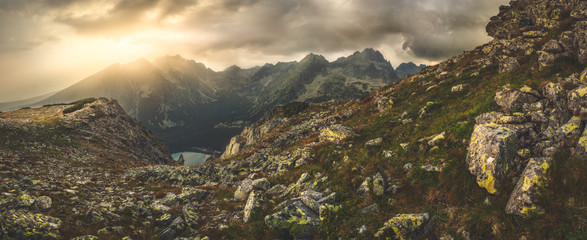 Mountain Landscape Panorama with Poprad Tarn at Sunset, High Tatras, Slovakia