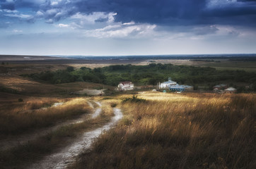 Calm before the storm near monastery in steppe of Astrakhan region, Russia