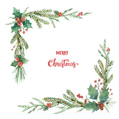 Watercolor vector Christmas decorative corner with fir branches and flower poinsettias.