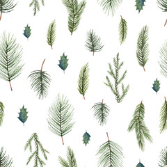 Watercolor vector Christmas seamless pattern with fir branches.