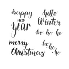 Merry Christmas, Happy New Year card. Hello Winter watercolor vector lettering.