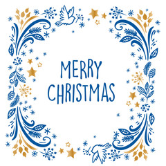 Merry Christmas and happy new year frame decoration with bird, snowflakes, leaves and berries. Holiday ornaments.