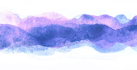 violet blue watercolor horizontal strip. multilayer watercolor.