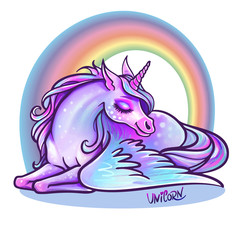 Beautiful unicorn in sleep. vector illustration. Magic fantasy horses design for kids T-shirt and bags. Unicorn with rainbow hair