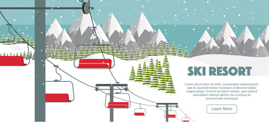 Ski resort, mountaineering adventure flat vector illustration. Ski hills panoramic background, winter leisure activities. Swiss Alps, green fir trees, snow hills winter background.