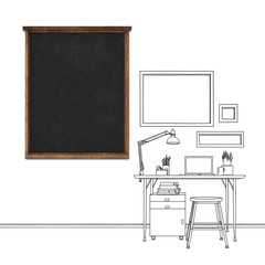 Sketch drawing of workplace desktop with blank blackboard frame
