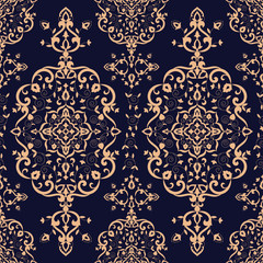 Baroque floral pattern vector seamless. Victorian luxury background texture. Vintage flower ornament design for wallpaper, fabric swatch, backdrop, carpet, package, furniture textile.