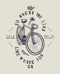 City fixed gear bicycle stylish print. Go where you like - like where you go.