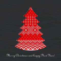 christmas knitted tree card chalkboard