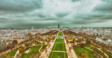 Fototapete - Champs de Mars and city skyline - Aerial view of Paris
