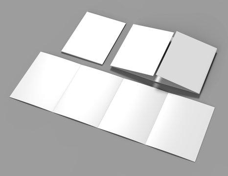 Double gate fold brochure blank white template for mock up and presentation design. 3d illustration.