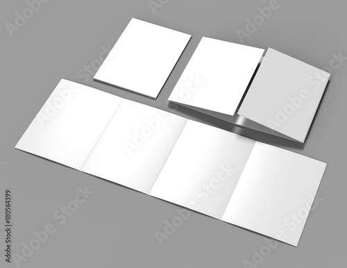 Double gate fold brochure blank white template for mock up and ...