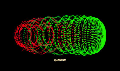 Array with dynamic particles. Vector sound wave. 3d technology style. Abstract background. Vector illustration.
