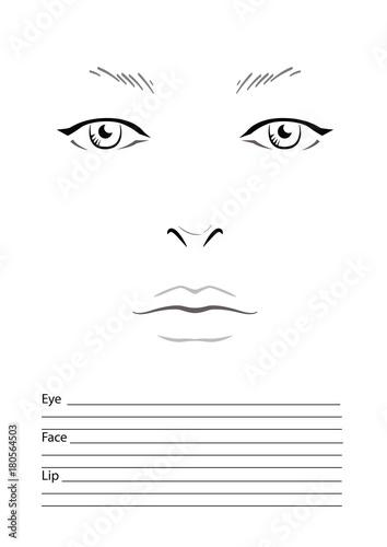 Face Chart Makeup Artist Blank Template Photo Libre De Droits