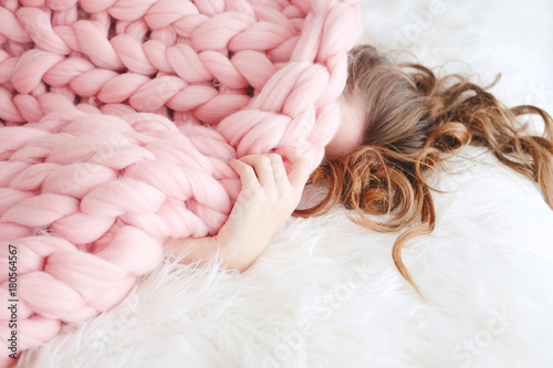 Young Woman Sleeping Under Warm Peach Color Throw Blanket Stock Adorable Peach Colored Throw Blanket