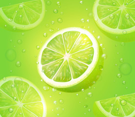 Lime juice green background. Refreshing citrus drink with bubbles and drops. Mojito vector cocktail