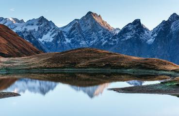 Koruldi mountain lake. Upper Svaneti, Georgia, Europe. Caucasus mountains.