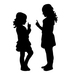 vector, isolated silhouette little girl playing