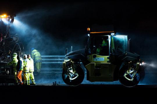 Manutenzione autostrade di notte