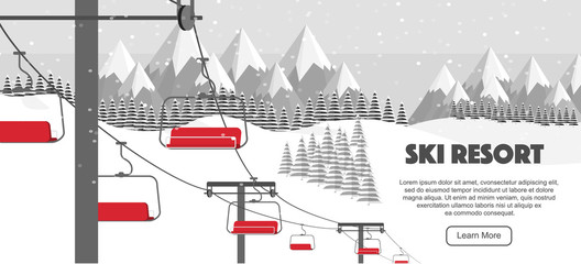 Ski resort, lift flat vector illustration. Winter activities promo, vector illustration. Swiss Alps, ski hills, winter web banner design. Alps, fir trees, mountains wide panoramic background.