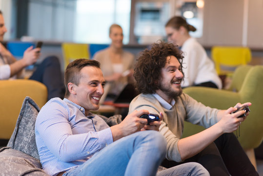 startup Office Workers Playing computer games