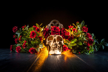 Skull in the style of the Cult of Santa Muerte. Skull in flowers.