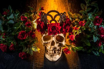 Cult of Santa Muerte. Skull in roses. Mexican cult.