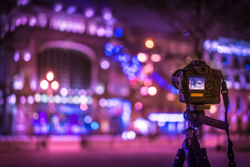 Photography of the night city. Photographing from a tripod.
