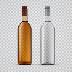 Whiskey and vodka transparent bottles design, vector template