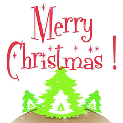 Merry Christmas greeting card with Christmas trees on white background vector illustration