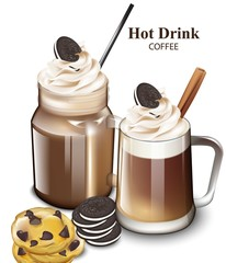 Hot chocolate drink with cookies Vector. Realistic cocktail design glasses