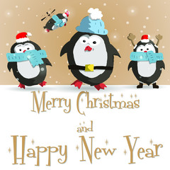Happy New Year greeting card with cute four penguins vector illustration
