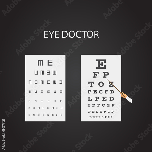 Chart Test table with letters for eye examination  Eye chart