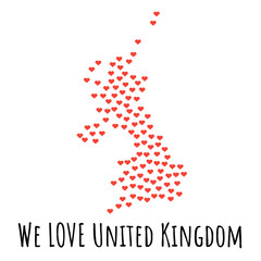 United Kingdom Map with red hearts - symbol of love. abstract background