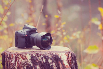 Camera with wideangle lense