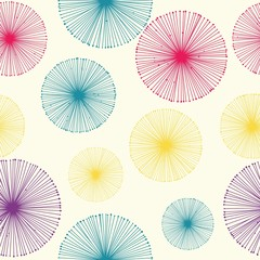 Seamless dandelion pattern with beige background. Vector repeating texture.